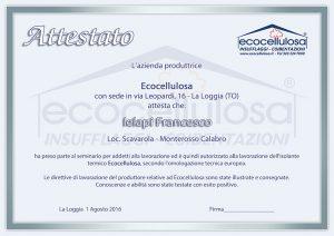attestato ecocellulosa
